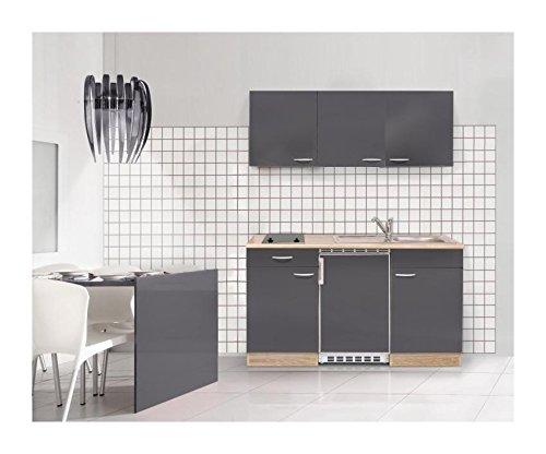 Mebasa MEBAKB1500GAC Einbauküche, hochwertige Küchenzeile inkl. Einbaugeräte, moderner komplett Küchenblock 150 cm, in Sonoma Eiche / Grau Hochglanz