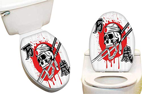 Bandanna Fashion - Vinyl Toilet Lid Decal mSkull of Kamikaze with Bandanna Samurai Swords Japanese and Japan Flag Fashion Toilet Seat Wall Sticker Decals Vinyl Art 12