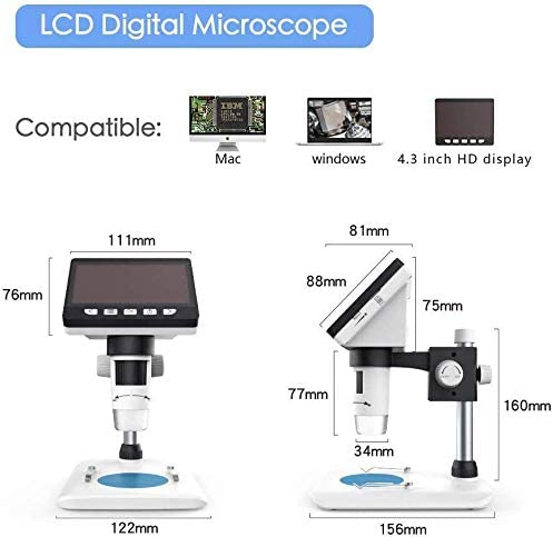 4.3 inch 1080P HD LCD1000X Magnification Rechargeable Battery NA Loadfckcer Digital Microscope with Screen with 8 LEDs for Windows PC Endoscope
