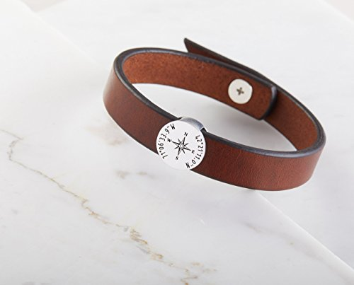 Wedding Charm Italian Bracelet - CODE BLUE JEWELRY -Coordinate Leather Bracelet • Couple Matching Bracelets • Engraved Leather Bracelet for Him• Latitude Longitude Bracelet • Wedding Gift