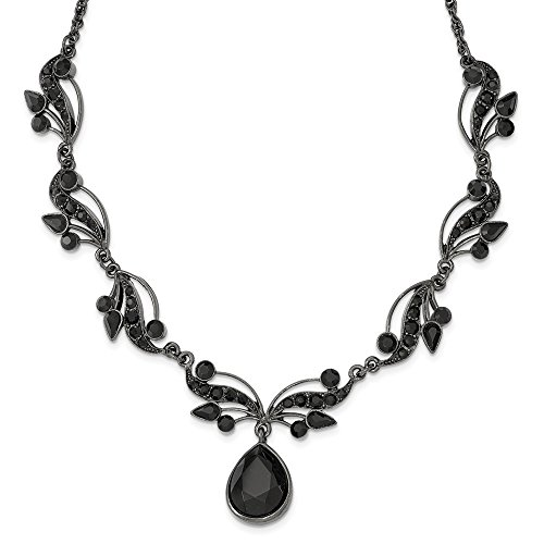 (Jewelry Necklaces Fancy Necklaces Black-plated Swarovski Crystal and Crystal Fancy with 3in ext. Necklace)