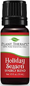 Plant Therapy Holiday Season Synergy Essential Oil Blend. 100% Pure, Undiluted, Therapeutic Grade. Blend of: Sweet Orange, Cinnamon Bark, Ginger and Nutmeg. 10 mL (1/3 Ounce).