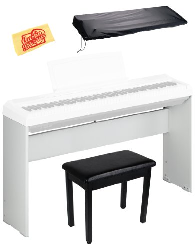 Yamaha L-85 Wooden Digital Piano Stand Bundle for P-35, P-85, P-95, and P-105 with Furniture-Style Bench, Dust Cover, and Polishing Cloth - White