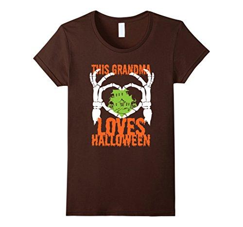 Super Nanny Costume (Womens This Grandma Loves Halloween T-Shirt Small Brown)
