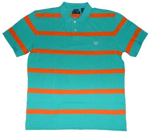 Chaps Men's Custom-Fit Striped Pique Polo (XXL, Turquoise)