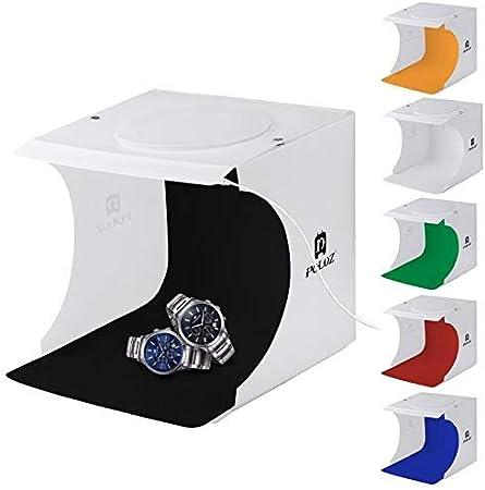 طقم صندوق خيمة لالتقاط صور استوديو باضاءة صور ساطعة 550 لومن محمول وقابل للطي 20 سم من بولوز مع 6 خلفيات مُلوّنة (اسود، ابيض، برتقالي، احمر، اخضر، ازرق)، القياس غير مطويًا: 24 سم × 23 سم × 22 سم