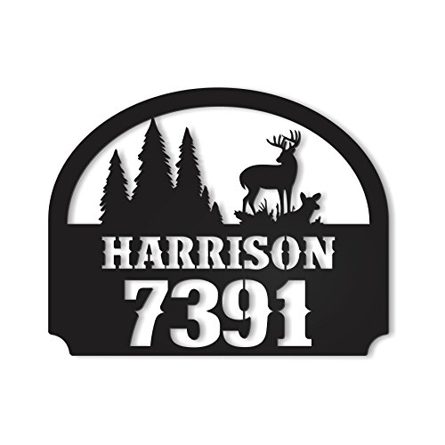 MRC Wood Products Outdoor Metal Personalized Address Sign with Deer Scene