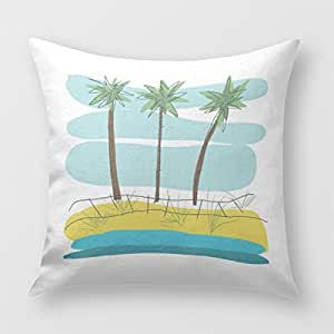 Three Palm Trees Square Pillow Cover for Sofa or Bedroom