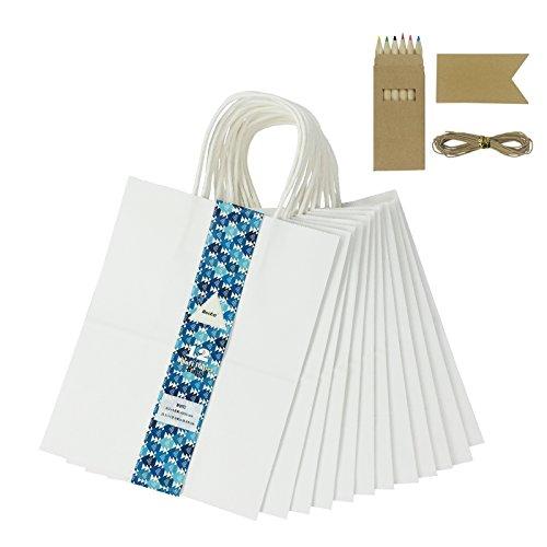 Becko White Kraft Paper Bags, Shopping, Merchandise, Party,