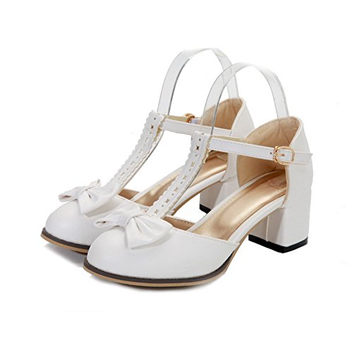 AmoonyFashion Womens Closed Round Toe Mid Heel Soft Material PU Solid Sandals with Bowknot White 4S3Qg
