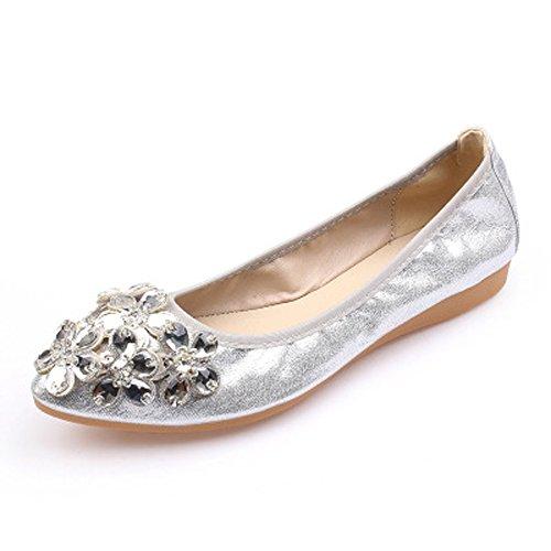 Flat Rhinestone Pull - Womens Rhinestone Flats Ballet Foldable Mocasin Pointed Slip On Loafer Sliver