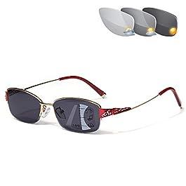 CAOXN Photochromic Transition Reading Glasses Women's Fashion Progressive Multifocal Anti-Blue Light Glasses Eyewear,GoldRed,+1.50