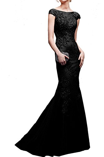 Ballkleider Festlichkleider Abendkleider La Damen Braut Schwarz mia Spitze Traube Langes Cocktailkleider Abschlussballkleider F4a8x4q