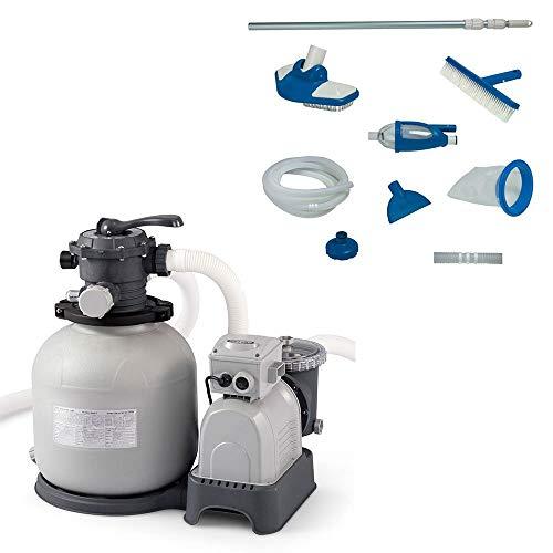 Intex 28651EG Krystal Clear 3000 GPH Above Ground Swimming Pool Sand Filter PumpIntex Deluxe Pool Maintenance Kit with Vacuum & Pole for Minimum 800 GPH Flow