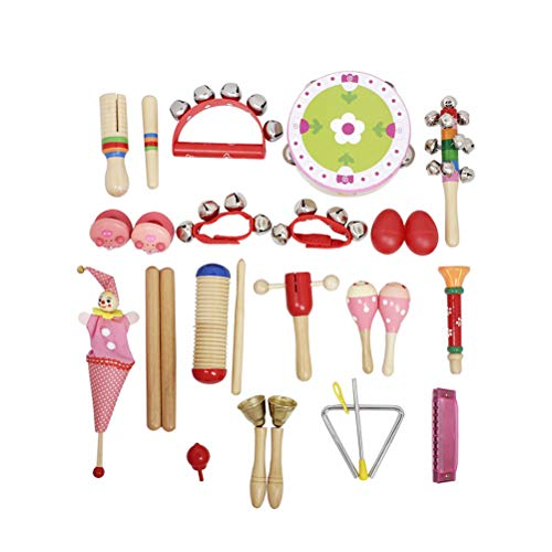 SUPVOX 22 in 1 Musical Toy kit Sand Egg Wrist Bell Triangular Iron Pull Doll Castanet Finger Cymbals for Children Kids (Red)