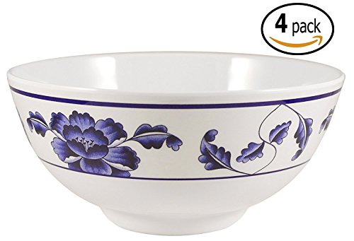 Melamine Soup / Rice Bowls with Pan Scraper, 39 Ounce, 7 Inch, Set of 4, Blue Lotus