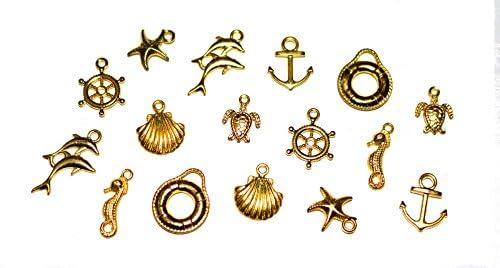 【jewel】rs3 厳選8種 ゴールド マリン系チャーム詰め合わせ 各種2個入り 合計16個 ハンドメイド アクセサリー