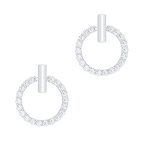 18k Gold Plated Cubic Zirconia Hoop Halo Stud Earrings
