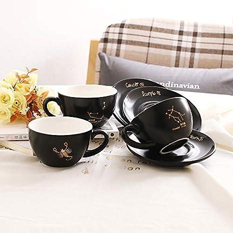 300 ml ufficio per caff/è 12 tazzine da caff/è Constellation in porcellana tazze da t/è Constellation 1 Set of Constellation Espresso hotel Set di tazzine da caff/è con piattino colore nero opaco