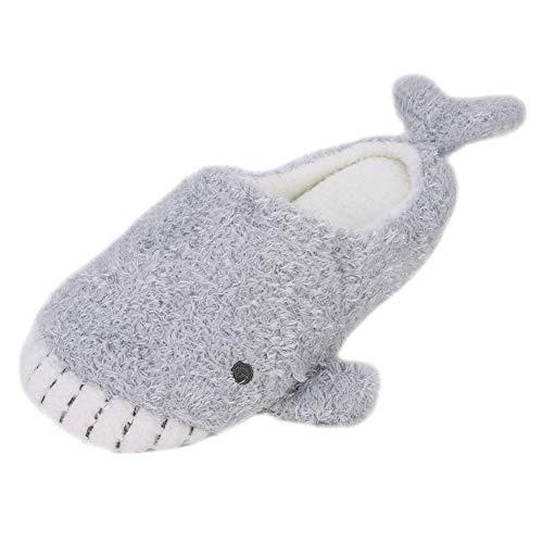 QCHOMEE Cute Whale Plush Slippers Japanese Girl Plush Shark Soft Bottom Indoor Home Flat Floor Cotton Slipper (Whale Slippers)