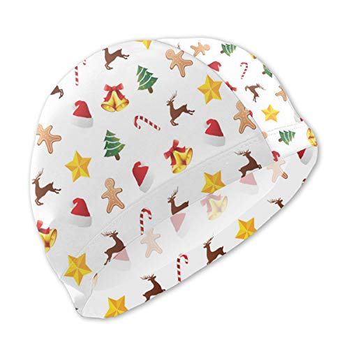 Onlyouder Christmas Tree Reindeer Lollipop Stars Swim Caps for Kids Boys and Girls Baby Bathing Caps for Long and Short Hair