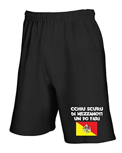 Un Cchiu T1307 Nero T Di Fari Pantaloncini Po Scuru shirtshock Mezzanoti Tuta Sicilia Trinacria xwqwIznpBX
