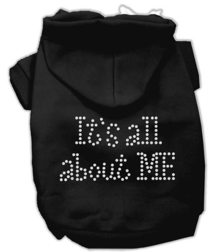 Mirage Pet Products 14-Inch It's All About Me Rhinestone Hoodies, Large, Black