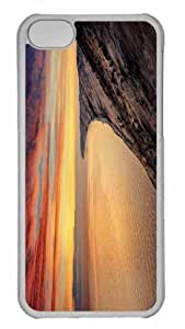 Customized iphone 5C PC Transparent Case - Sunset On Rocky Shore Personalized Cover