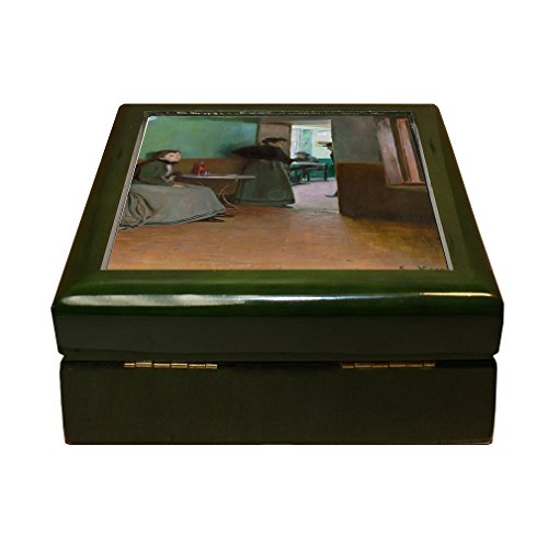 Style in Print Interior Cafe In Spain (Santiago Rusinol) 4''x4'' Jewelry Box Ceramic Tile Green Frame by Style in Print