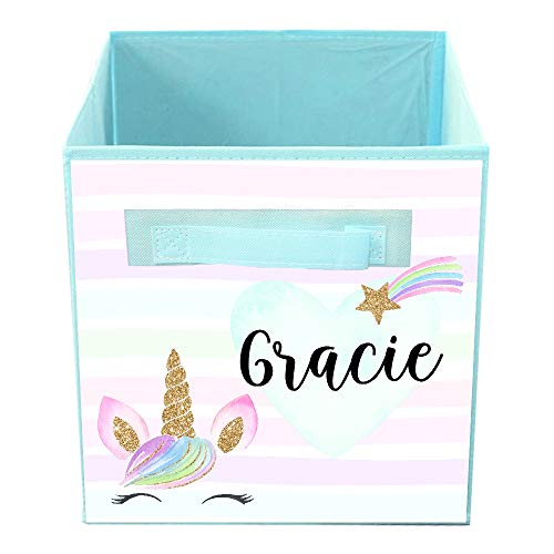 Toad and Lily Rainbow Unicorn Shooting Star Bin Kid's Personalized Bedroom Baby Nursery Organizer for Toys or Clothing FB0135