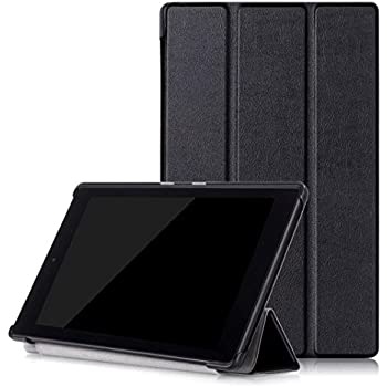 Kepuch Custer Amazon fire HD 8 6th 2016 Case - Ultra-thin Custer PU Leather Case Shell Hard Case Cover for Amazon fire HD 8 6th 2016 - Black