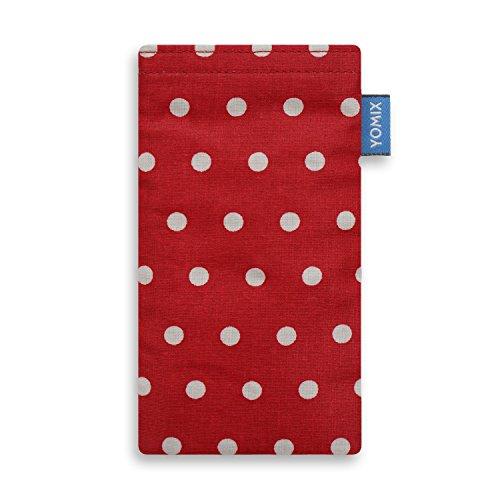 YOMIX Handytasche GUNILLA rot für Apple iPhone 5 / 5s / SE aus beschichteter Baumwolle mit genialer Display-Reinigungsfunktion durch Microfaserinnenfutter