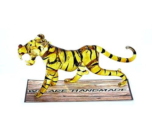 Handmade Tiger Art Glass Blown Wild Animal Figurine -