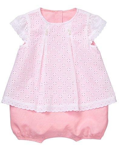 Gymboree Baby Girls Short Sleeve One-Piece Bubble Romper, Eyelet Pink, 12-18 Mo (Eyelet Bodysuit)
