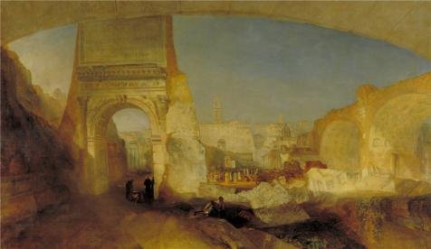 Perfect Effect Canvas ,the Beautiful Art Decorative Canvas Prints Of Oil Painting 'Joseph Mallord William Turner - Forum Romanum, For Mr Soane's Museum,1826', 18x31 Inch / 46x79 Cm Is Best For Powder Room Decor And Home Decor And Gifts