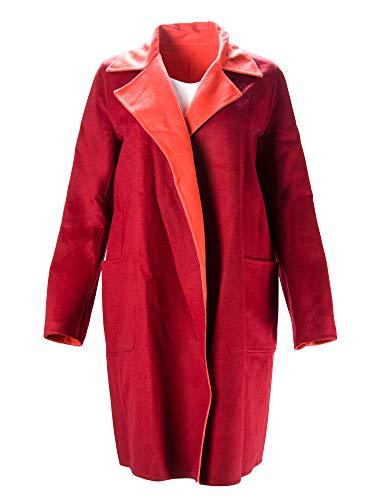 Max Mara Women's Visone Rerversible Wool Blend Coat Sz 8 Red/Orange