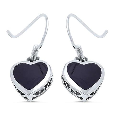 Filigree Art Deco Dangle Drop Fish Hook Heart Earrings Simulated Black Onyx 925 Sterling Silver