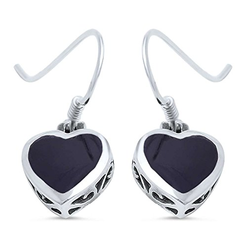 Filigree Art Deco Dangle Drop Fish Hook Heart Earrings Simulated Black Onyx 925 Sterling ()