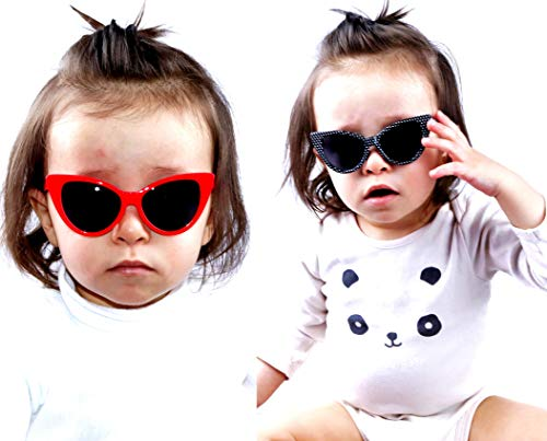 KD3136 Baby Infant Toddlers Kids Age 0-36 months Cateye Sunglasses glasses (2-pack Red&Polka dots Black)