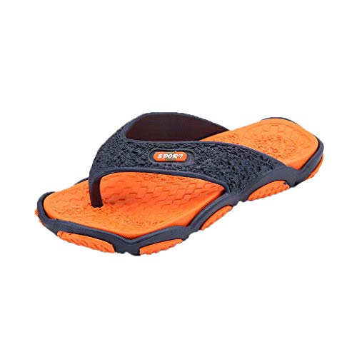 Preum Massage Flip Flops - Massage Footbed for Better Health, Men's Open Toe Slippers Non-Slip Beach Shoes Orange