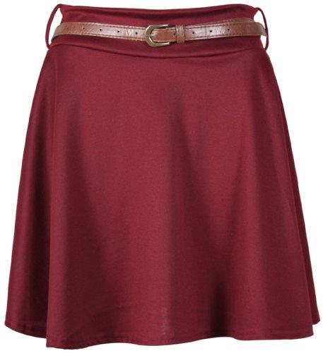 Purple Hanger - Jupe Mini Femme Grande Taille Jersey Evas Patineuse Extensible Ceinture Amovible Uni Bordeaux