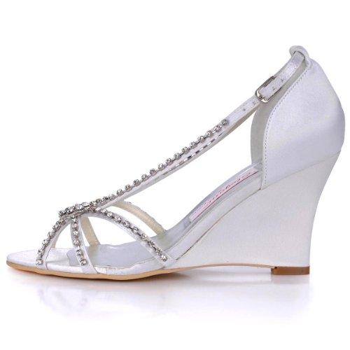 Elegantpark MC-023 White Open Toe High Heel Shoes Rhinestone Satin Women's Bride Wedding Wedge Sandals US 7