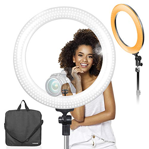 LimoStudio LED 18 inch Ring Light 3200K-5600K and Dimmable with Camera Adapter & Monopod Tripod Mount Clip Cellphone Holder, AGG2396V2