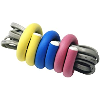 Flexi Ties by UT-Wire Reusable Cable Ties/Wrap to Organize Cords,Yellow/Pink/Blue, 6-Piece Pack