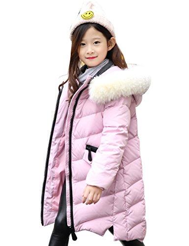 CUKKE Girl's Down Fur Hooded Jacket Winter Warm Outwear Winter Coat (150,Pink) by CUKKE