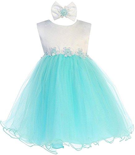 (Aqua Baby Girls Tulle Dress Christening Baptism Party Formal Flower Girl Dresses)