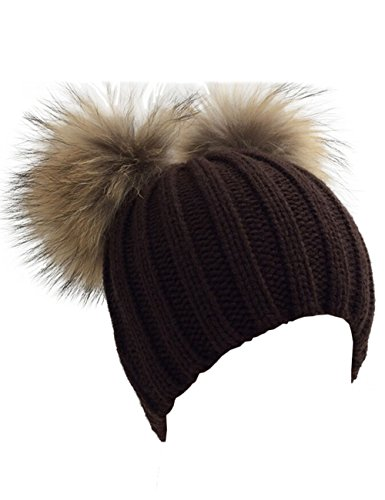 XWDA Womens Crystal Knitted Raccoon Fur Double Pom Beanie Hat Ski Cap