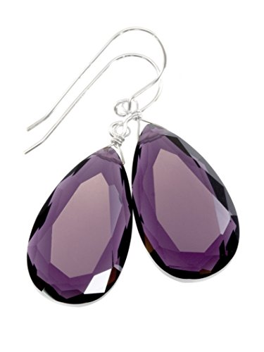 Sterling Silver Purple Simulated Light Amethyst Earrings Faceted Large Pear Teardrops Simple Briolette Dangle Drops