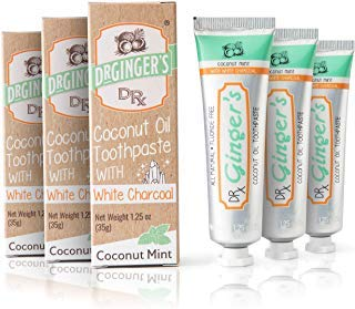 Dr. Ginger's Coconut Oil Toothpaste with White Activated Charcoal, Travel Size 3-Pack| Extra Whitening | 100% Natural | Fluoride Free | Supports Healthy Gums | Great Coconut Mint Taste (Toothpaste Coconut Mint)