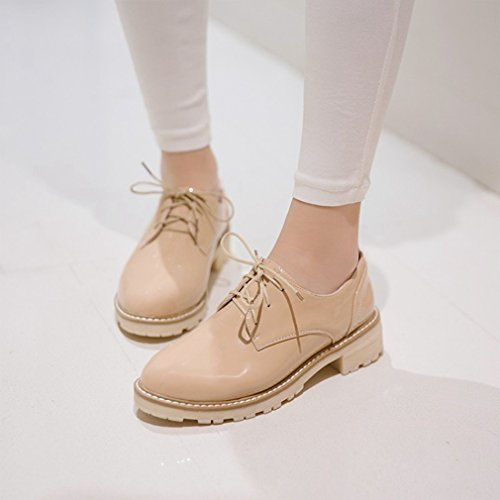 Hoxekle Womens Fashion Runda Tår Oxford Skor / Perforerad / Brittisk Stil / Plattform / Vintage Oxford Skor Aprikos